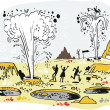 Vector illustration of tourists in thermal area wi...