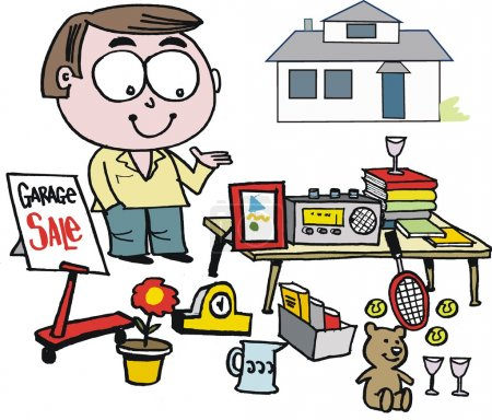Vector cartoon of man selling items at garage sale.