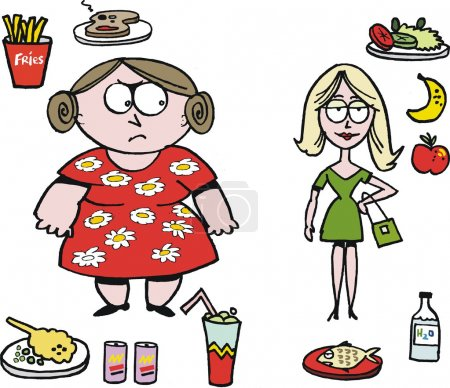 Vector cartoon of overweight woman with fast food