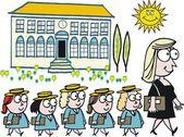 Vector cartoon of school teacher with pupils