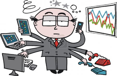 Illustration for Vector cartoon of business man using new technology in office. - Royalty Free Image