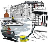 Vector illustration of Stockholm boat harbor with buildings and