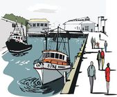 Vector illustration of fishing boats at StAbs Scotland