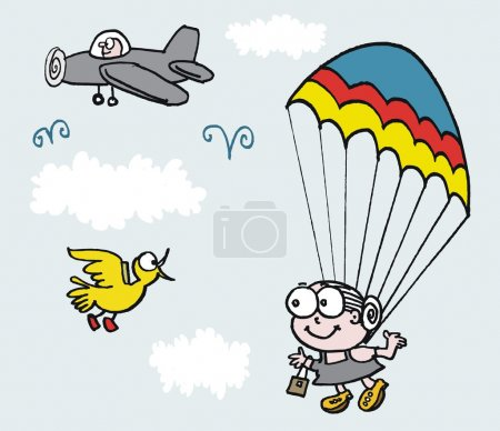 Illustration for Vector cartoon of grandmother jumping out of plane with parachute - Royalty Free Image
