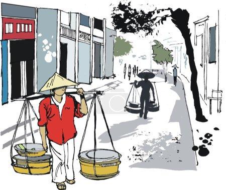 Illustration pour Illustration vectorielle d'un homme asiatique portant des paniers alimentaires, Hanoi, Vietnam - image libre de droit