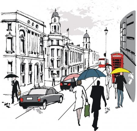 Illustration for Vector illustration of pedestrians in Whitehall, London England - Royalty Free Image
