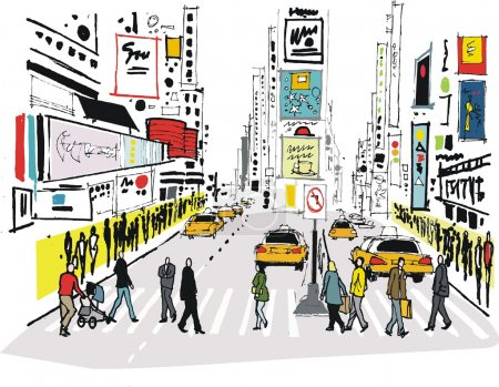 Illustration for Vector illustration of pedestrians crossing road at Times Square, New York - Royalty Free Image