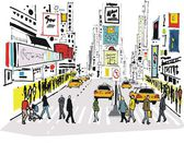 Vector illustration of pedestrians crossing road at Times Square New York