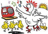 Vector cartoon of happy hen and chicks dancing to radio