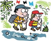 Vector cartoon of happy couple hiking in forest