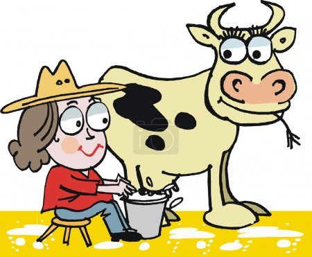 Vector cartoon of woman milking cow