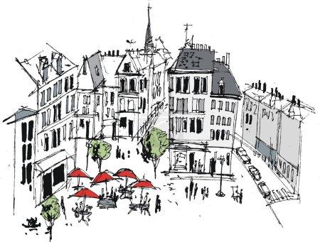 Illustration pour Illustration vectorielle de la ville française avec bâtiments et cafés - image libre de droit