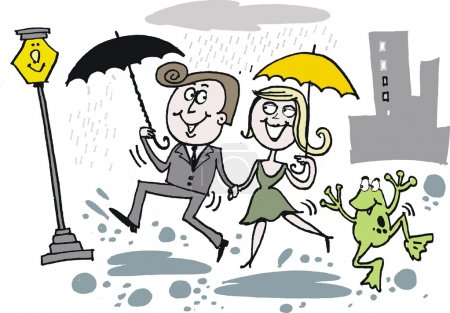 Vector cartoon of man and woman dancing in the rain
