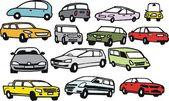 Vector group illustration of cartoon cars