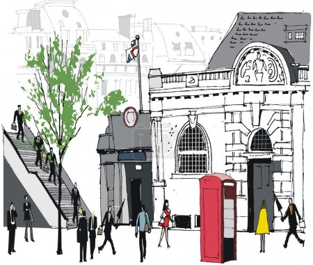 Vector illustration of city commuters at London railway station.
