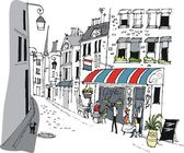 Vector illustration of French cafe with eating and drinking