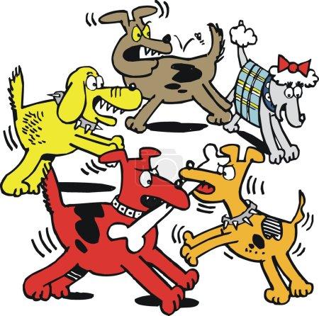 Vector cartoon of dogs fighting over bone.