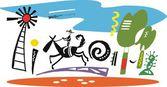 Vector illustration of horse rider in Australian outback
