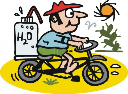 Illustration for Vector cartoon of man riding bicycle on hot day - Royalty Free Image