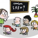 Vector cartoon of schoolteacher instructing childr...