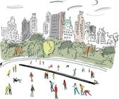 Vector illustration of ice skaters in Central Park Manhattan New York