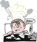 Vektorové karikatura člověka v posteli s chladem
