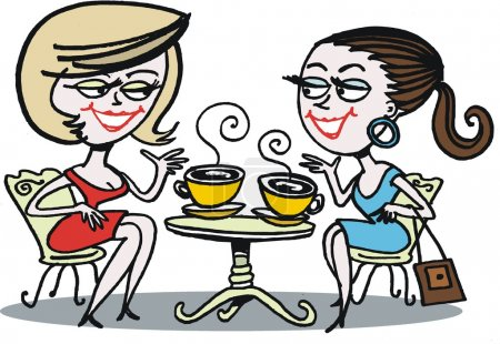 Vector cartoon of two women talking over cup of coffee.