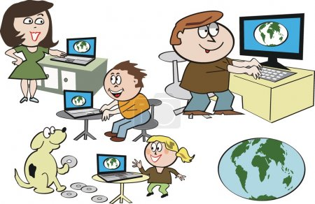 Vector cartoon of happy family using internet on computers.