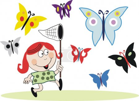Vector cartoon of small girl with red hair chasing butterflies.