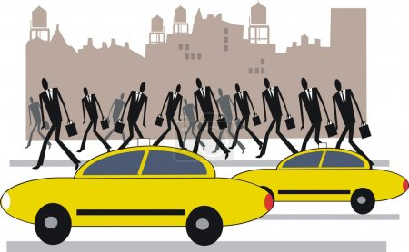 Vector illustration of yellow taxis and commuters in New York.
