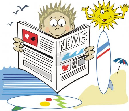 Vector cartoon of man reading newspaper with surfboards and beach in background