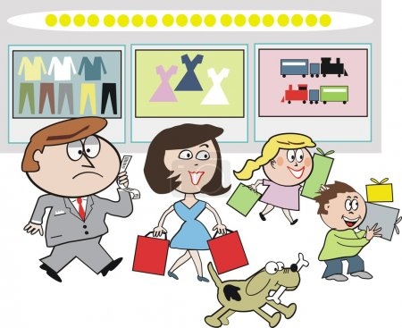 Vector cartoon of family group shopping at department store carrying presents