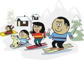 Vector cartoon of happy African family skiing in alpine setting