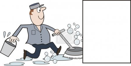 Vector cartoon of happy cleaning man running with floor polisher and scrubber
