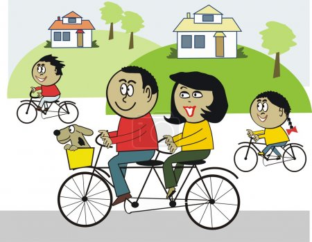 Illustration for Vector cartoon of happy African family riding bicycles - Royalty Free Image