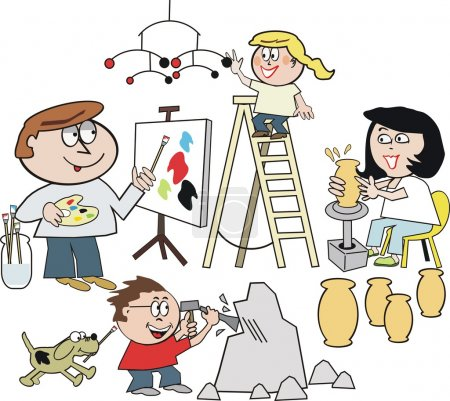 Vector cartoon of happy family artists painting, making sculpture, and pottery