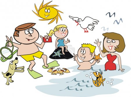 Cartoon of happy family at beach swimming and snorkeling