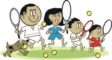 Vector cartoon of Asian family playing tennis