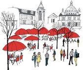 Vector illustration of diners at cafe restaurant near Montmartre Paris France