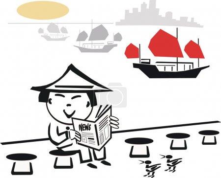 Cartoon illustration of Asian man reading newspaper