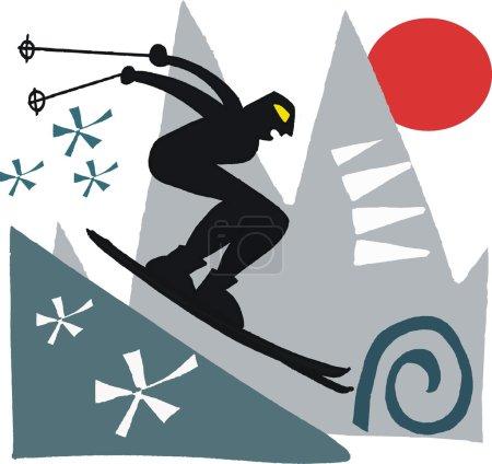 Vector illustration of man skiing