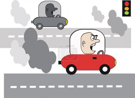 Cartoon of angry motorist with exhaust fumes on highway.