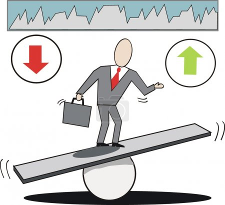 Illustration for Vector cartoon of businessman on seesaw balancing market trends up and down. - Royalty Free Image