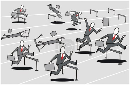 Cartoon of business executives striving to compete in hurdle race.