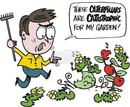 Man running to rid garden of pests and caterpillars