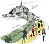 Vector illustration of Mont St Michel monastery France
