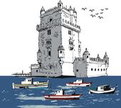 Vector illustration of old fort Lisbon Portugal