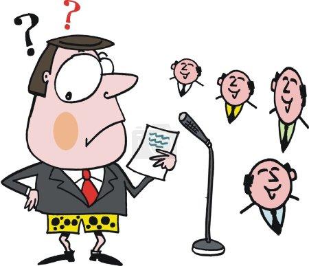 Vector cartoon of embarrassed speaker before audience.