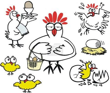 Vector cartoon showing group of hens