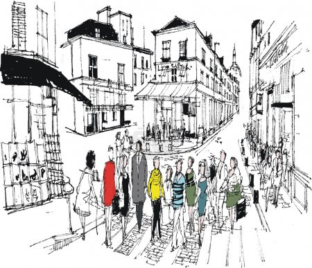 Illustration for Illustration of pedestrians crossing the road on the street near Montmartre in Paris, France. - Royalty Free Image